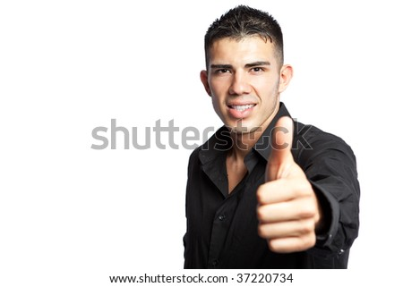 A shot of a hispanic businessman giving a thumbs up