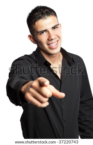 A shot of a hispanic businessman pointing