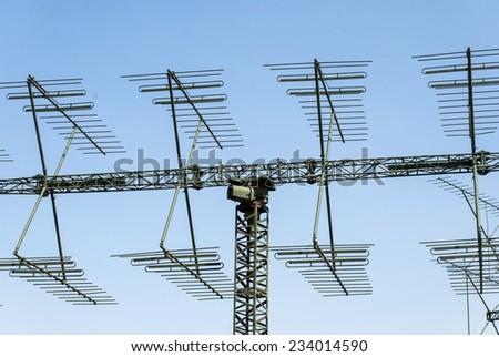 a shot of a military radar antenna - stock photo
