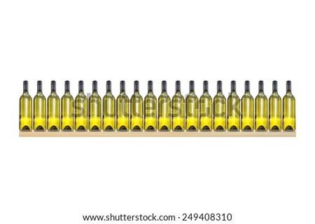 A shot of a row of wine bottle - stock photo