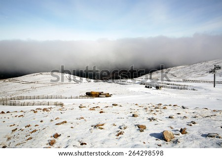 A shot of an Incoming Cloud at a ski resort - stock photo
