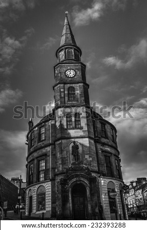 A shot of an old Clock Tower in Stirling - stock photo