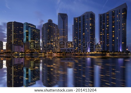 A shot of beautiful Miami skyline after sunset. - stock photo