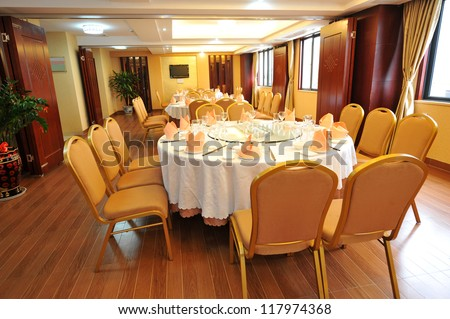 a shot of interior of chinese restaurant. - stock photo