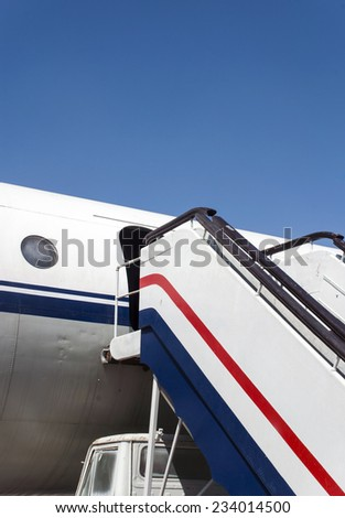 a shot of old undercarriage and airplane - stock photo