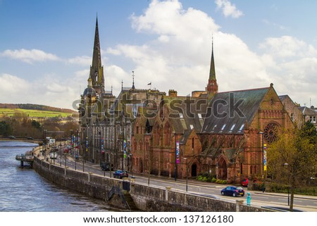 A shot of Perth by the River Tay in Scotland - stock photo
