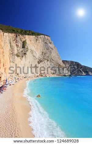 A shot of Porto Katsiki beach at Lefkada island, Greece on a sunny day