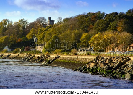 A shot of Pretty Autumn coastline in Culross Scotland - stock photo