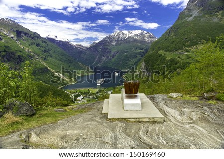 A shot of the famous Geiranger Fjord in Norway - stock photo