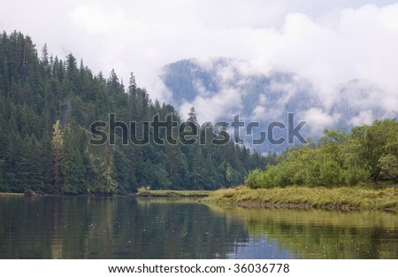 A Shot of the Smith Inlet, in the Great Bear Rainforest, British Columbia, Canada - stock photo