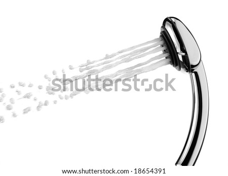 A shower head is spraying water.