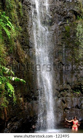 A shower in the jungle - stock photo