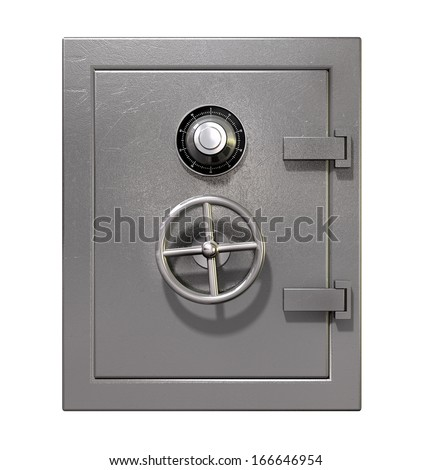 A shut metal safe on an isolated white background - stock photo