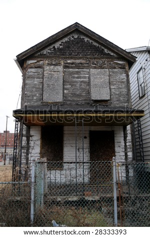 A shuttered empty house in Braddock, Pennsylvania, a poster town of urban decay - stock photo