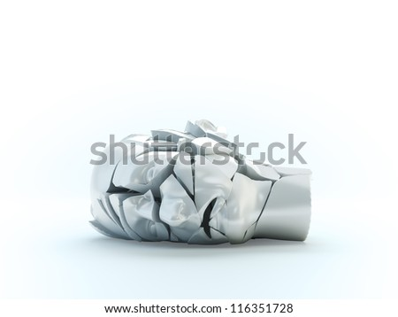 A shuttered head model - mental problems concept illustration - stock photo