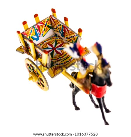 a Sicilian cart model isolated over a white background