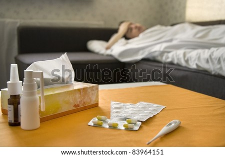 A sick man in bed