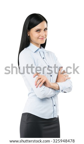 A side view of a beautiful smiling lady with crossed hands. The brunette is dressed in formal clothes. Isolated on white background. - stock photo