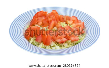 A side view of a fresh cut lettuce and tomato salad in a blue striped bowl. - stock photo