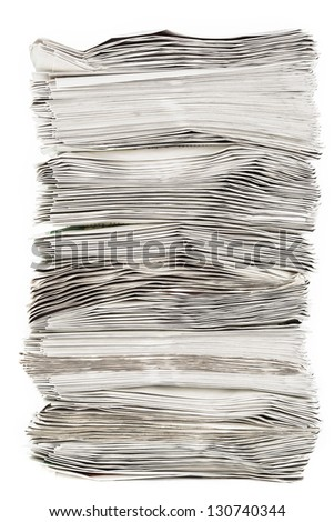 A side view of a pile of paper - stock photo