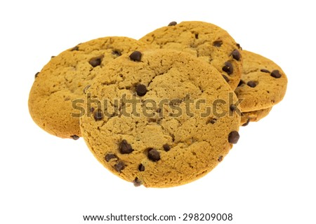 A side view of a small group of chocolate chip cookies on a white background. - stock photo