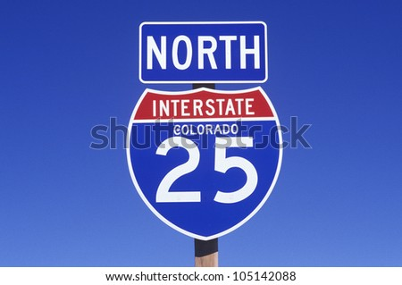A sign for the 25 north in Colorado