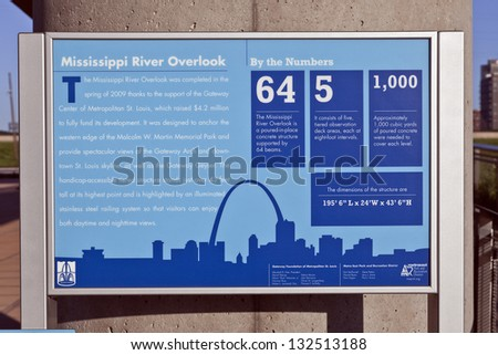 A sign of Mississippi River Lookout at Malcolm W. Martin Memorial Park, East St. Louis, IL - stock photo