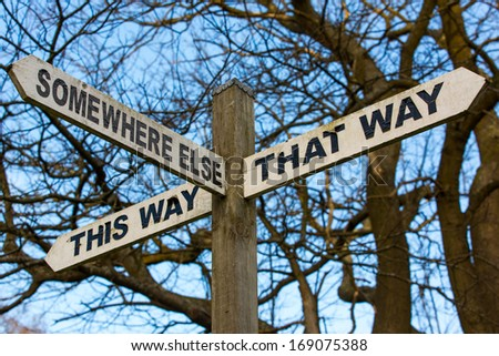 A sign post, offering a choice of generic directions - stock photo