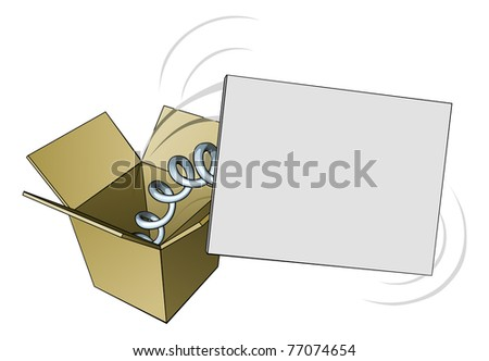 A sign springing out of a box with blank copyspace for your message - stock photo