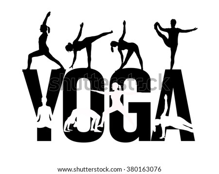 A Sign Stating The Word YOGA With Silhouettes Of Woman Posing In Various Positions