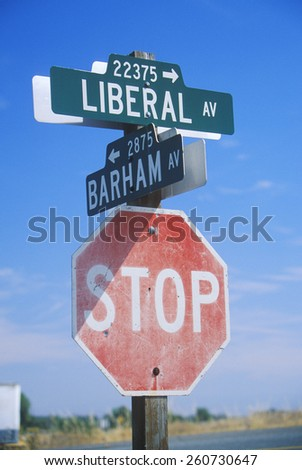 "A sign that reads ""Stop"" suggesting stopping Liberal Politics"