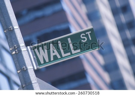 "A sign that reads ""Wall Street"" for Business on Wall Street, NY, NY"