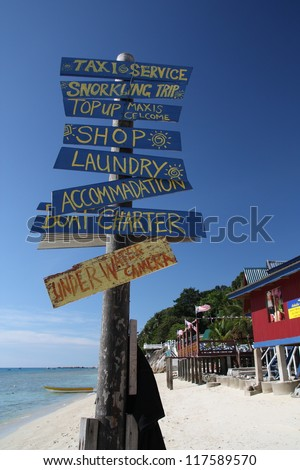 A signboard at the beach.