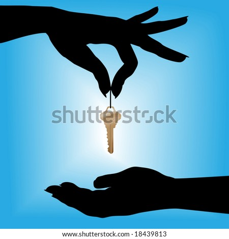 A silhouette female hand holds a house key over a cupped hand against a blue background glow. - stock photo
