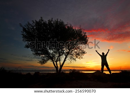 A silhouette lone tree and man with arms wide open on sunset background