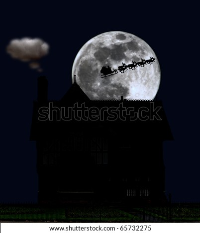 A silhouette of a cottage house with a silhouette of santa clause on his sleigh and reindeer flying across a full moon. - stock photo