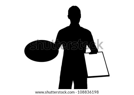 A silhouette of a delivery boy with clipboard delivering a pizza isolated on white background - stock photo