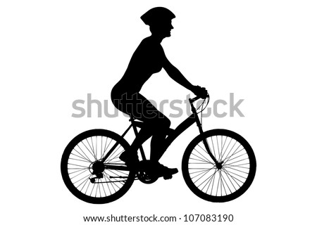 A silhouette of a female biker with helmet sitting on a bike isolated against white background