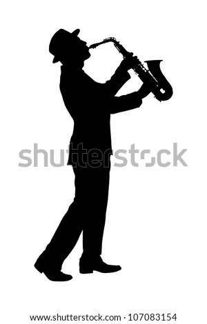 A silhouette of a full length portrait of a man in a suit playing on saxophone isolated against background - stock photo