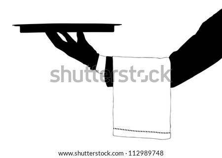 A silhouette of a hand holding a tray isolated on white background - stock photo