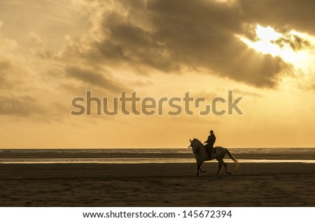 A silhouette of a man riding his horse along a beautiful beach in tarifa spain - stock photo