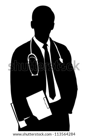 A silhouette of a medical doctor isolated against white background