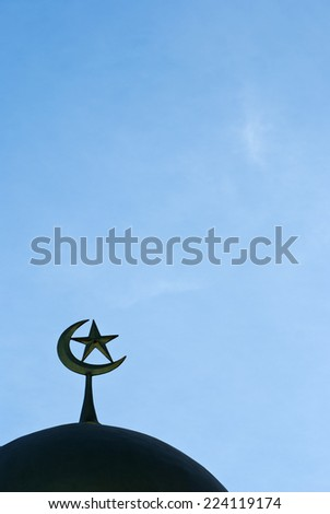 A silhouette of a mosque in Thailand - stock photo