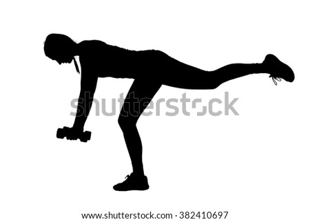 A silhouette of a muscular, athletic female personal trainer demonstrating workout, weight lifting and stretching poses against a white background.