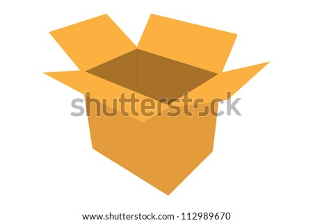 A silhouette of a paper box isolated on white background - stock photo