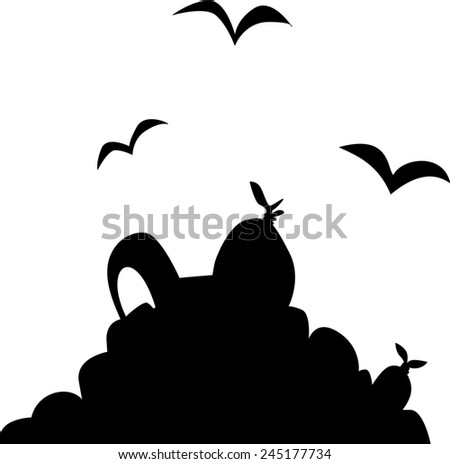 A silhouette of a pile of rubbish and scavenger birds.