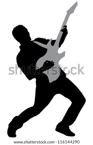 A silhouette of a rock star playing guitar isolated on white background