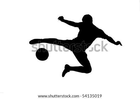 A silhouette of a soccer player shooting a ball isolated on white background