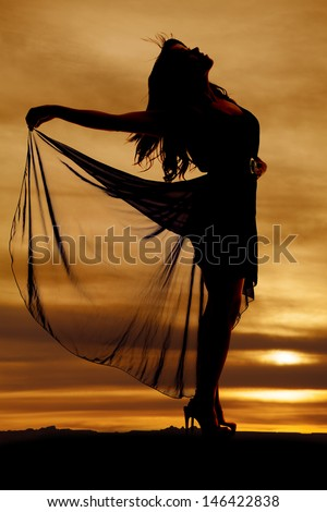 A silhouette of a woman holding on to her flowing skirt - stock photo