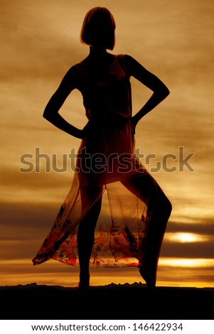 A silhouette of a woman in her lace skirt with her hands on her hips - stock photo